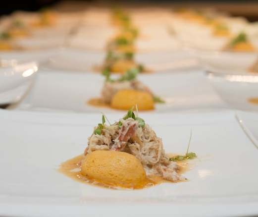 Butternut Squash Custard with Dungeness Crab Vinaigrette and Koppert Cress Basil
